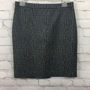 Loft Textured Charcoal Printed Pencil Skirt - EUC